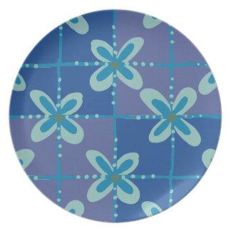 Midnight blue floral batik seamless pattern plate