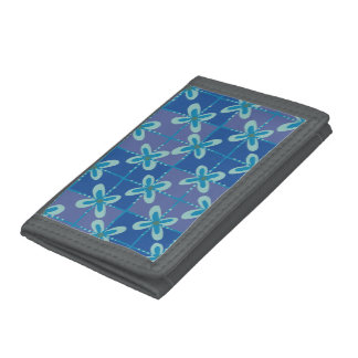 Midnight blue floral batik seamless pattern trifold wallet