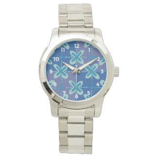 Midnight blue floral batik seamless pattern wrist watch