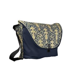 Midnight Blue Floral Messenger Bag