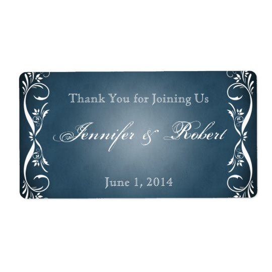 Midnight Blue Floral Posh Water Bottle Label Shipping Label