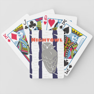 Midnight Blue Forest Nightowl Bicycle Playing Cards