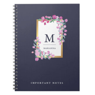 Midnight Blue, Gold and Pink Watercolor Flowers Spiral Notebook