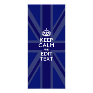 Midnight Blue Keep Calm and Your Text Union Jack Rack Card