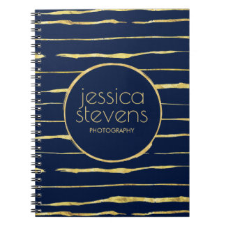 Midnight-Blue & Light Rose-gold Squiggly Stripes Spiral Notebook
