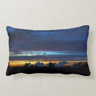 Midnight Blue Orange Sunset Photo Cushion Pillow