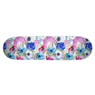 Midnight blue purple watercolor flowers pattern 21.6 cm skateboard deck