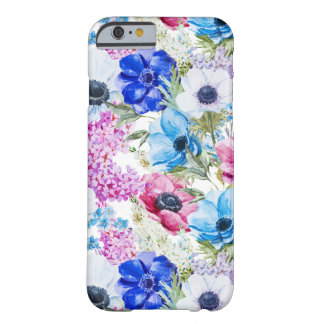 Midnight blue purple watercolor flowers pattern barely there iPhone 6 case