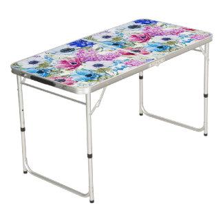 Midnight blue purple watercolor flowers pattern beer pong table