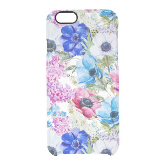 Midnight blue purple watercolor flowers pattern clear iPhone 6/6S case