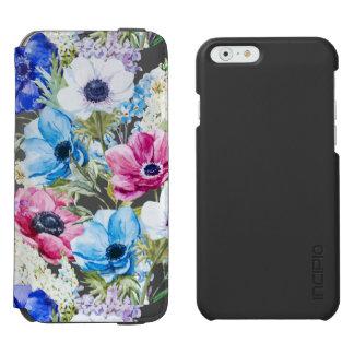 Midnight blue purple watercolor flowers pattern incipio watson™ iPhone 6 wallet case