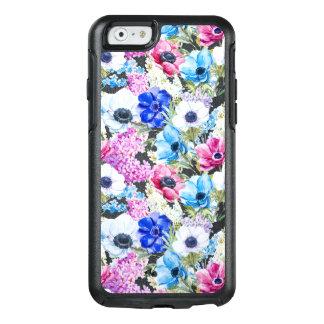 Midnight blue purple watercolor flowers pattern OtterBox iPhone 6/6s case