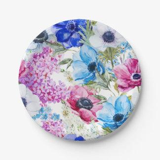 Midnight blue purple watercolor flowers pattern paper plate