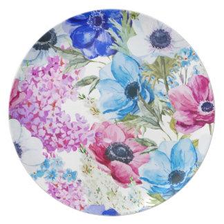 Midnight blue purple watercolor flowers pattern plate