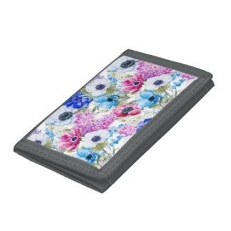 Midnight blue purple watercolor flowers pattern tri-fold wallet