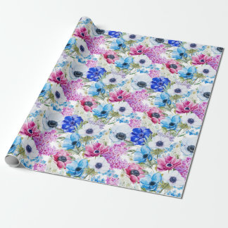 Midnight blue purple watercolor flowers pattern wrapping paper