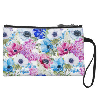 Midnight blue purple watercolor flowers pattern wristlet