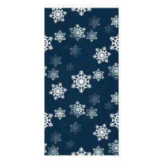 Midnight Blue Snow Flurries Photo Card Template