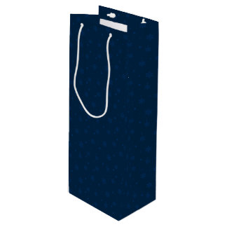 Midnight Blue Snowflakes Wine Gift Bag