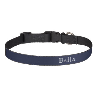 Midnight Blue White Lettering Name Minimalist Pet Collar