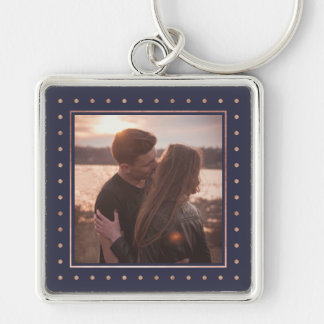 Midnight Blue with Faux Rose Gold Dots   Photo Silver-Colored Square Key Ring