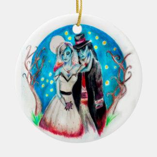 Midnight Blue Zombie Wedding Ceramic Ornament