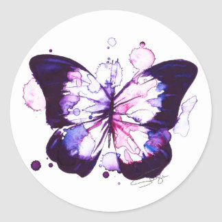 Midnight Butterfly Watercolor Classic Round Sticker