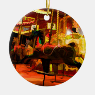 Midnight Carousel Ride Round Ceramic Decoration