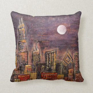 Midnight Chicago © Throw Pillow