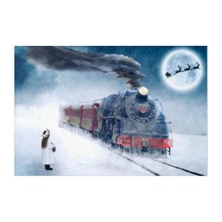 Midnight Christmas Train with Girl and Santa Acrylic Print