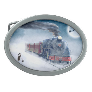 Midnight Christmas Train with Girl and Santa Oval Belt Buckle