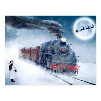 Midnight Christmas Train with Girl and Santa Postcard