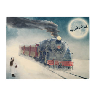 Midnight Christmas Train with Girl and Santa Wood Wall Decor