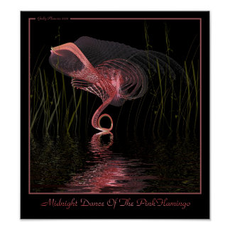 Midnight Dance Of The Pink Flamingo Poster