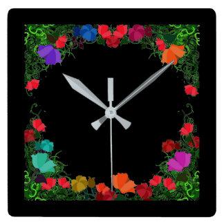 Midnight  Folk Art Wall Clock