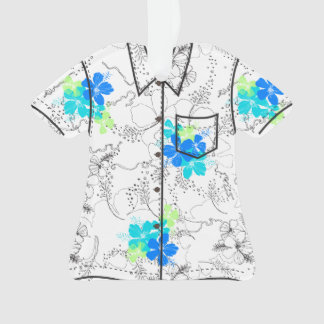 Midnight Garden Hawaiian Hibiscus Aloha Shirt Ornament