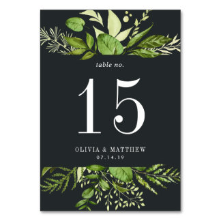 Midnight Garden | Personalized Table Number Card