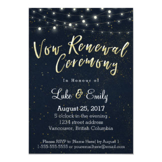 Midnight Glamour Vow Renewal Ceremony Card