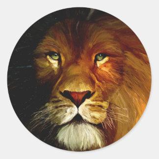 Midnight Lion 1.jpg Classic Round Sticker