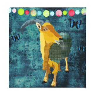 Midnight Moonlight Aoudad Art Canvas Stretched Canvas Prints