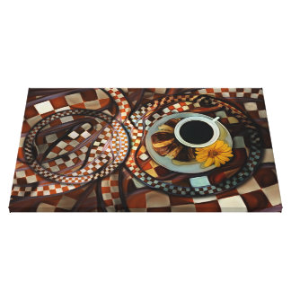 Midnight Never Ends, a Red Checkered Diner Fractal Canvas Print