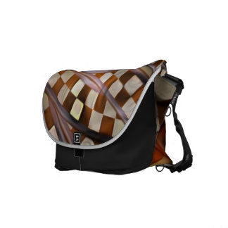 Midnight Never Ends, a Red Checkered Diner Fractal Courier Bag
