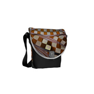 Midnight Never Ends, a Red Checkered Diner Fractal Courier Bags