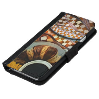 Midnight Never Ends, a Red Checkered Diner Fractal iPhone 6 Wallet Case