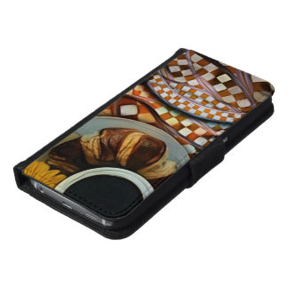 Midnight Never Ends, a Red Checkered Diner Fractal Samsung Galaxy S6 Wallet Case