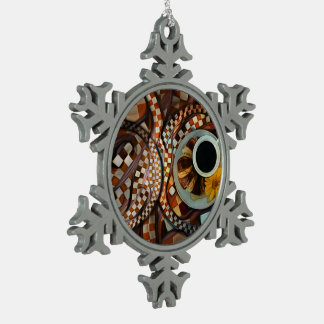 Midnight Never Ends, a Red Checkered Diner Fractal Snowflake Pewter Christmas Ornament