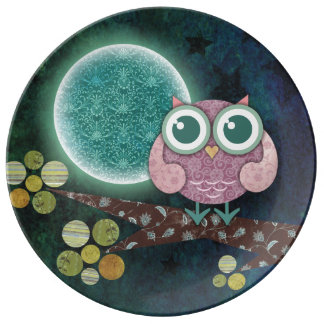 Midnight Owl Porcelain Plate