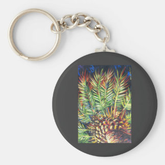 MIDNIGHT PALM TREE BASIC ROUND BUTTON KEY RING