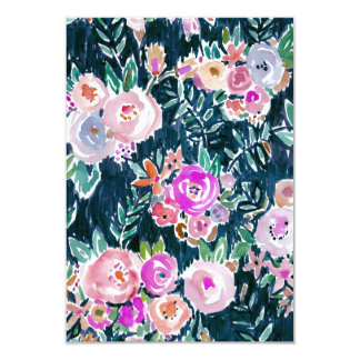 Midnight Profusion Dark Rose Floral Thank You Card