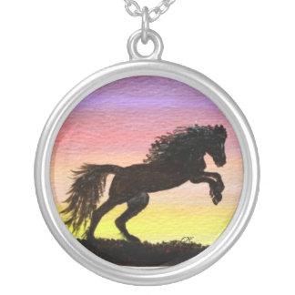 Midnight Rising - Black Stallion Round Pendant Necklace